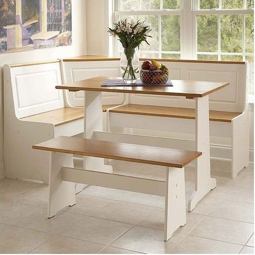 NEW Breakfast Bar Nook White Dining Set Corner Bench Table Booth Wood Seats 6