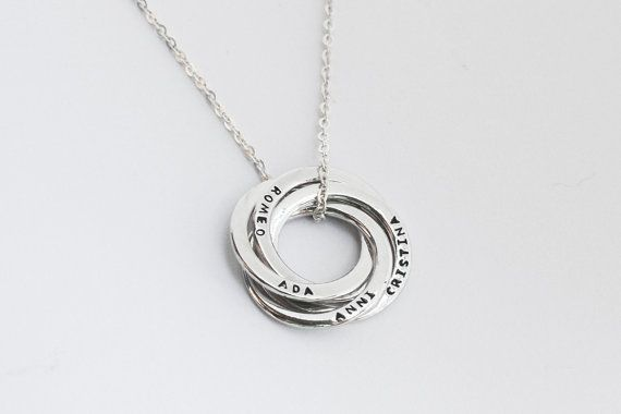 SALE: Mother Necklace with Handstamped Children's Names - Sterling Silver - Mother's Gifts - Russian Ring Necklace