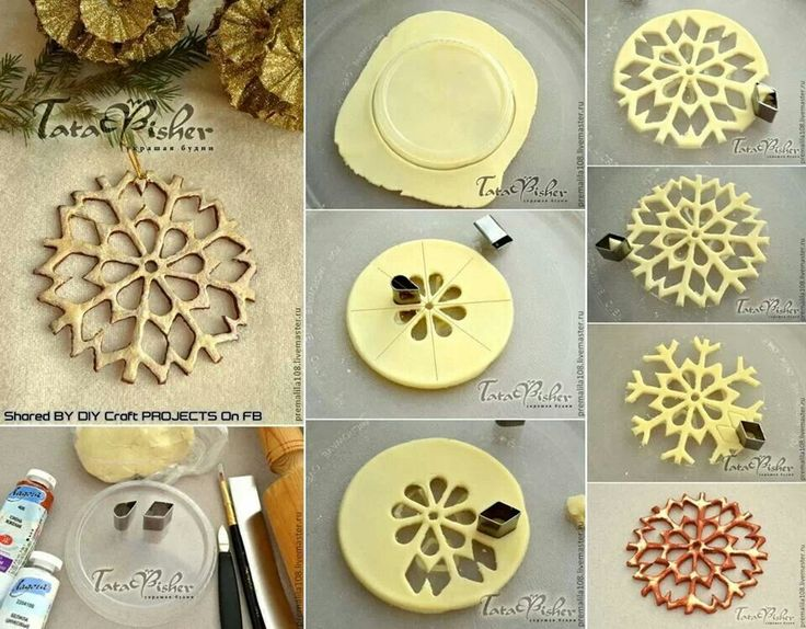 Salt dough designs, from Russia possibly?  A basic salt dough recipe would work.  These lacy creations could be made out of polymer clay as well.  Someone has a very logical and inventive mind!