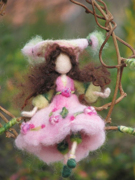 Needle felted Waldorf inspired Magic fairy Mobile On a twig Pink