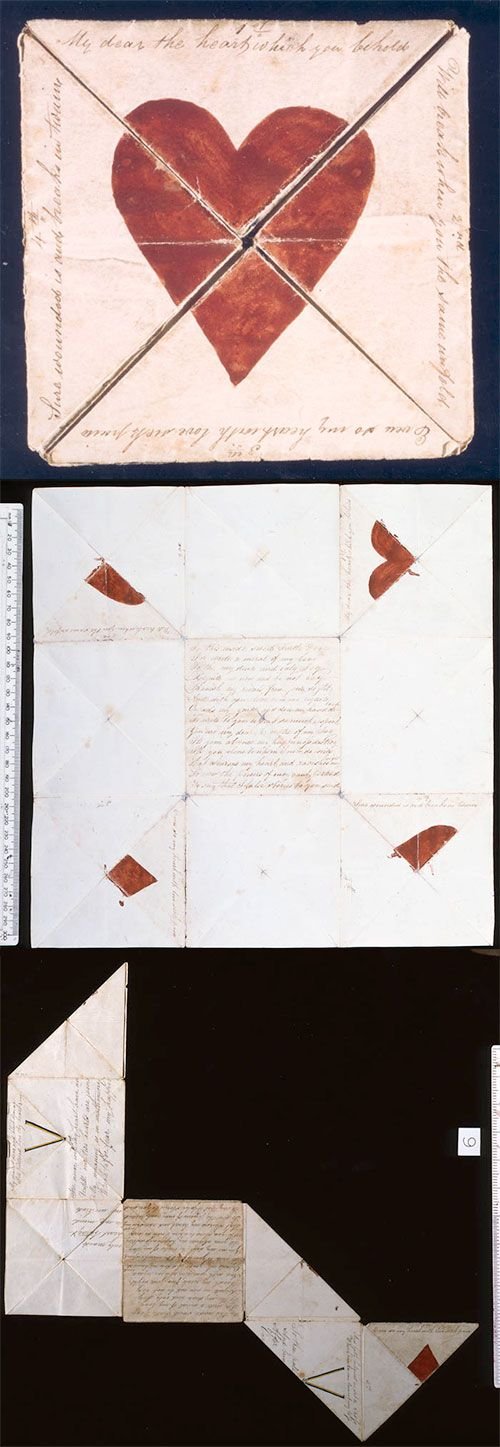 Puzzle Purse Valentine Card, England, 1790. Message shown around edge when card is folded to show central red heart: 'My Dear the heart which you behold/ Will break when you the same unfold/ Even so my heart with love sick pain/ Sure wounded is and breaks in twain'. British Postal Museum and Archive