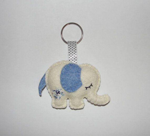 Lovely Wool Felt Elephant Keychain White by NitaFeltThings on Etsy