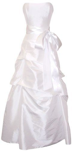 PacificPlex offer the best Strapless Taffeta Bridesmaid Prom Holiday Formal Gown Long Dress Junior Plus Size, Large, White.