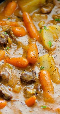 Crock Pot Beef Stew ~ A delicious beef stew loaded with potatoes and carrots slow cooked in the crock pot.