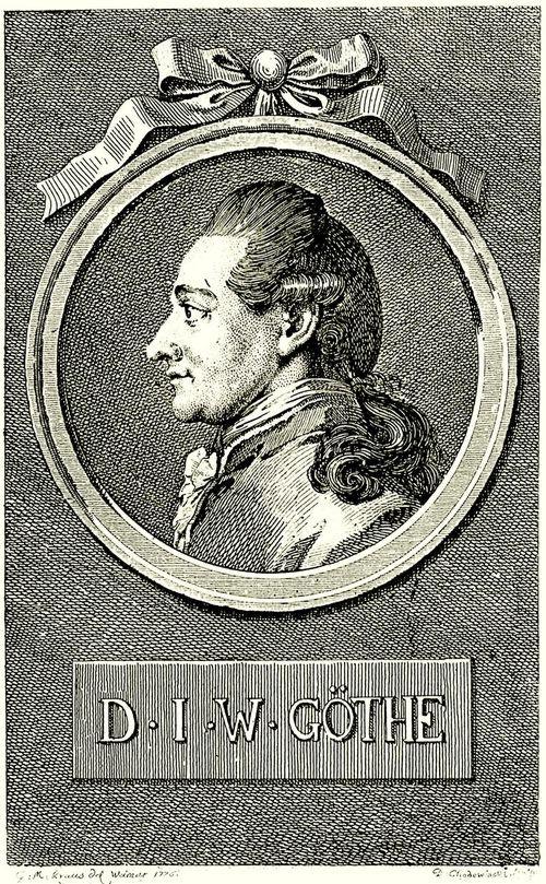 """Daniel Chodowiecki, Portrait von Johann Wolfgang Goethe (1775)  """"Unendlich ist das Werk, das zu vollführen  Die Seele dringt."""" (Iphigenie auf Tauris, 2, 1)"""