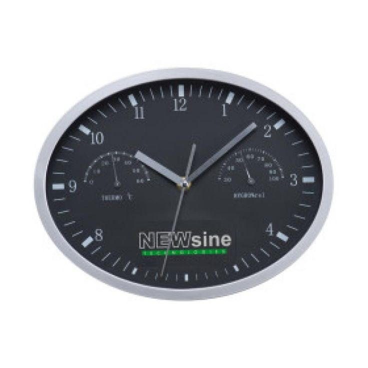 Image of Promotional Wall Clock With Hygrometer And Thermometer. Black Printed Wall Clock.