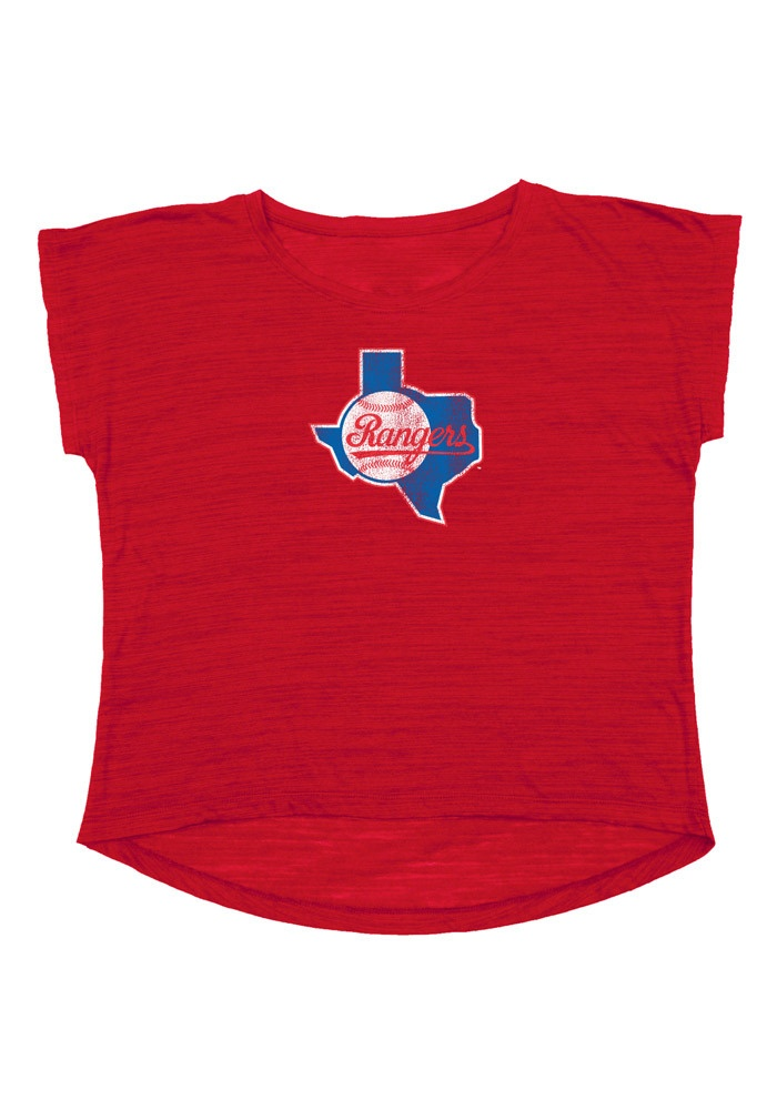 SUPER CUTE! Texas (TX) Rangers Women's Red 84/93 Retro Logo Crop Top $24.99