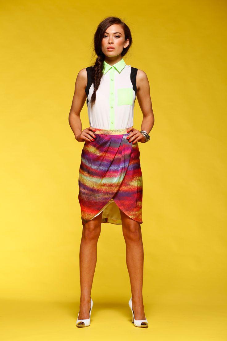 Honey & Beau - Sunset Skirt in Print HS55011 and Block It Shirt in Fluro Multi HT55012