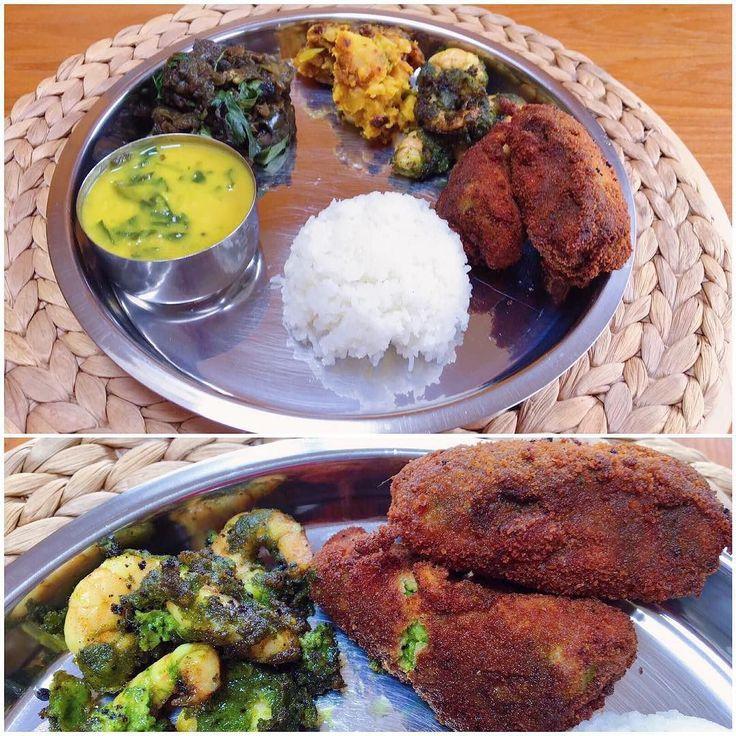 இனய பததணட நலவழததககள /Shubho Noboborsho / Happy new year!  Tried making Bengali fish fry which turned out quite decently; served along with a curried prawn fry keerai paruppu (spinach dal) kathirikai-murungakai poriyal (brinjal-drumstick) and urulai poriyal (potato). Here's hoping you're bringing in the new year surrounded by family and lots of food! #MangiaBene #HomeMade #TalesFromNW