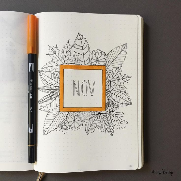 Bullet journal monthly cover page, November cover page, floral art. @artofthebujo