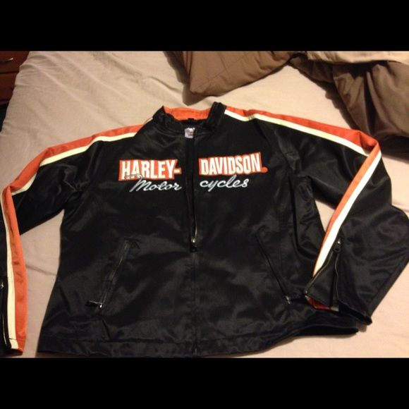 Harley jacket Black/orange harley jacket.  Worn once, we sold the harley once we had kids.  Great condition.  Was bought from Vandervest Harley store in Green Bay, Wi.  Make me an offer! Harley Davidson Jackets & Coats