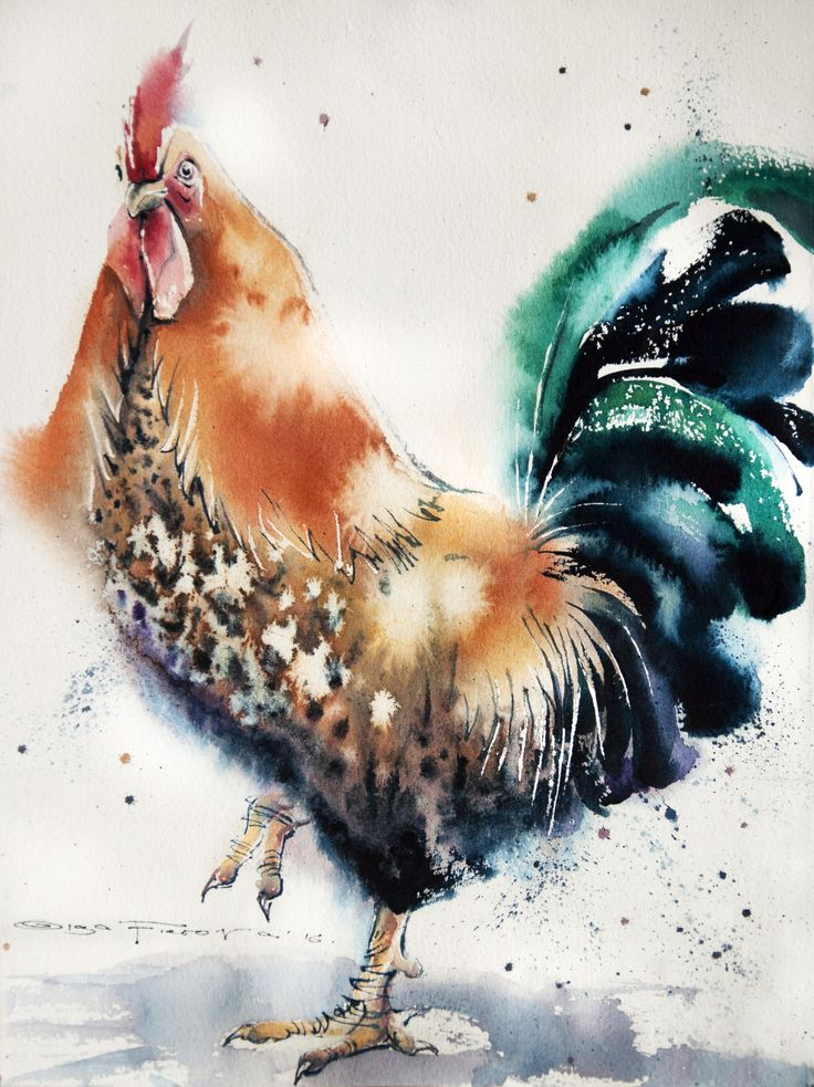 Orange&Green Rooster 38*28 sm watercolor on paper @ Olga Flerova https://www.saatchiart.com/account/artworks/425625