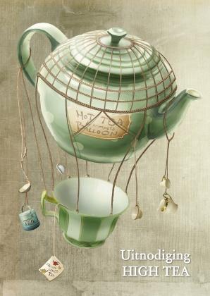 Uitnodiging High Tea Kaart, gemaakt door OTTI & Lorie Davison. Verkrijgbaar bij Kaartje2Go.