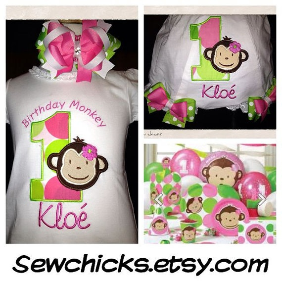 Cute Mod Monkey Birthday Girls shirt by SewChicks on Etsy, $18.00