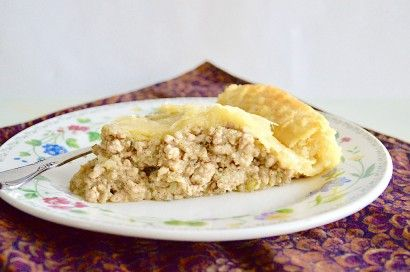 Spiced Pork Pie with a flavorful pork and mashed potato filling enclosed in a homemade buttery, flaky crust!