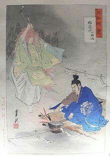 Inari è ilkami(divinità)shintoistadellafertilità, delriso, dell'agricoltura, dellevolpi, dell'industriae del successo terreno. È una figura popolare anche nelbuddismogiapponese. Le kitsune bianche sono sue messaggere e,per compiacerle nell'intercessione o placarle,nei templi si offrono riso,sakeo l'Inari-zushi: sushi contofufritto(che amano). Nel pin: Inari e i suoi spiriti volpe aiutano il fabbro ferraioMunechikaa forgiare la lamako-kitsune-maru(Piccola Volpe)