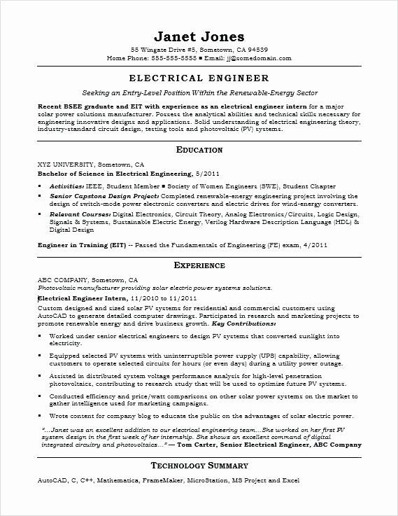 25 Entry Level Electrical Engineer Resume In 2020 Engineering Resume Engineering Resume Templates Job Resume Samples
