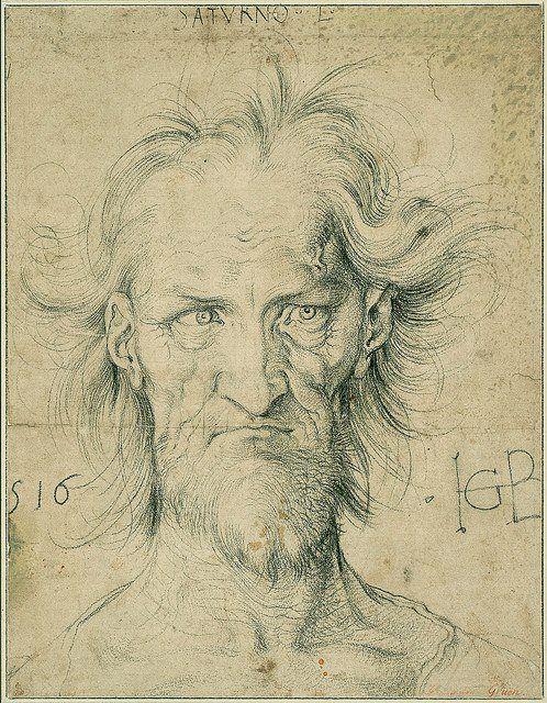 Amantes del Arte Head of Saturn, Dibujo, Hans Baldung Grien, 1516
