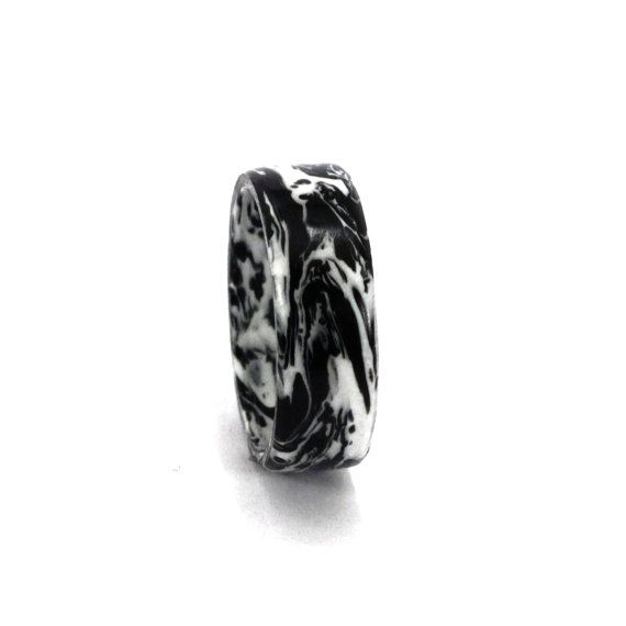 Mixed Wedding Ring. Black and White by Rosler on Etsy, $100.00