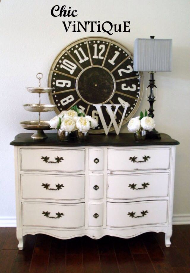 French Provincial Dresser Buffet WhiteBlack Painted