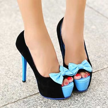 Women's Suede Fish Mouth Bowknot High Stiletto Shoes on DressLuck.com