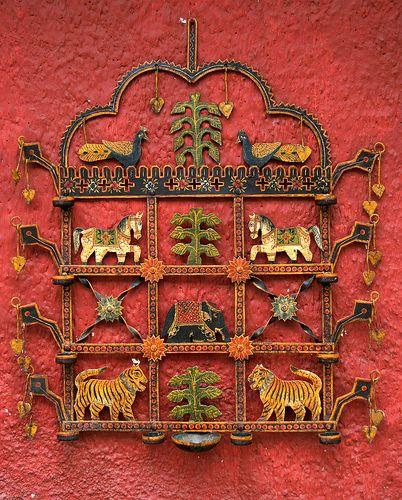 kerala beautiful vibrant animal metal work ethnic wall hanging