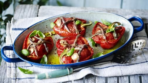 """Explore Mediterranean flavours with Simon Hopkinson's recipe for roast peppers – perfect for antipasto or a light lunch. This meal is <a href=""""http://www.bbc.co.uk/food/collections/low-calorie_recipes"""">low calorie</a> and provides 231 kcal, 6.2g protein, 16g carbohydrate (of which 15g sugars), 16g fat (of which 2.5g saturates), 6g fibre and 1g salt per portion."""