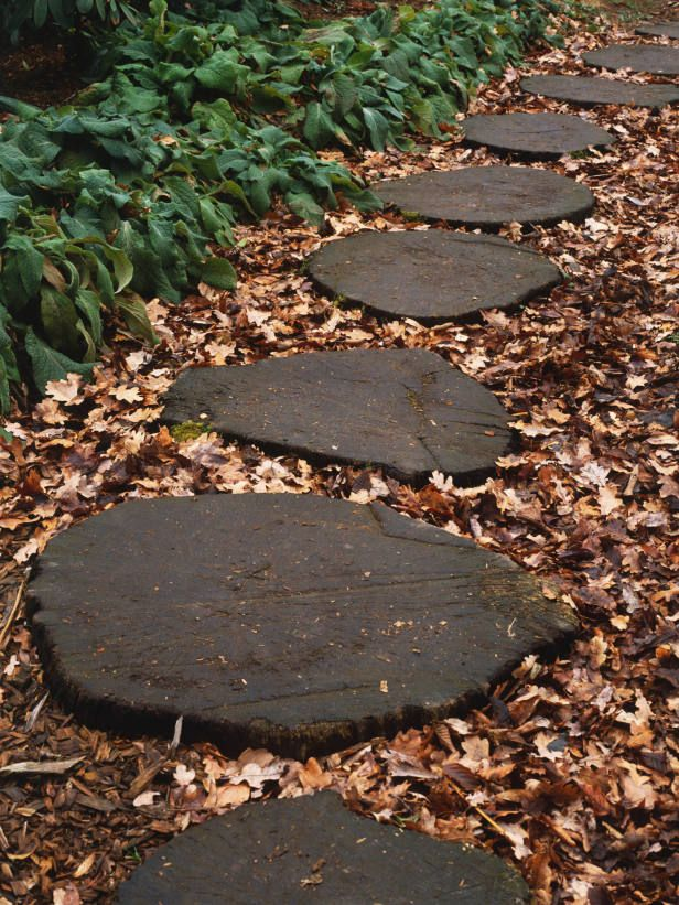 Bark mulch and log round steps yard garden pinterest Round wooden stepping stones
