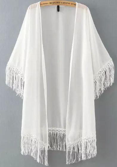 Kimono en mousseline à franges -blanc -French SheIn(Sheinside)