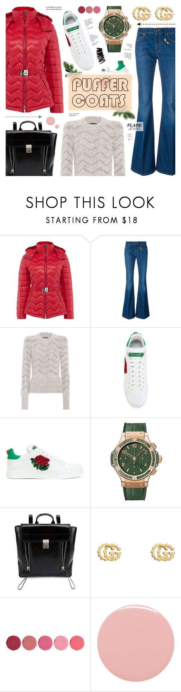 """""""Puffer Coat & Flare Jeans"""" by anyasdesigns ❤ liked on Polyvore featuring Armani Exchange, Gucci, Isabel Marant, Dolce&Gabbana, Hublot, 3.1 Phillip Lim, Kjaer Weis, Lauren B. Beauty and Bobbi Brown Cosmetics"""