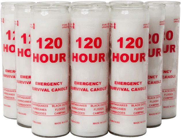 Emergency Candle, 120 hr, 2 pack.  (an inexpensive, handy addition to flashlights or lanterns that rely on batteries or decorative candles that burn more quickly)