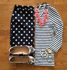 polka dot and stripes, shirt, skirt, necklace, floral shoes