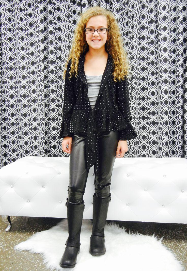 Peplum Top With Leather Leggings Kid S Fashion