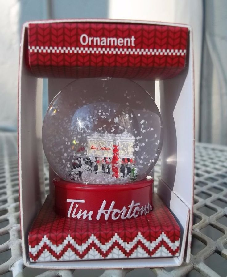 New 2015 Tim Horton's Cafe Mini Snow Globe Christmas Tree Ornament Decoration #TimHortons