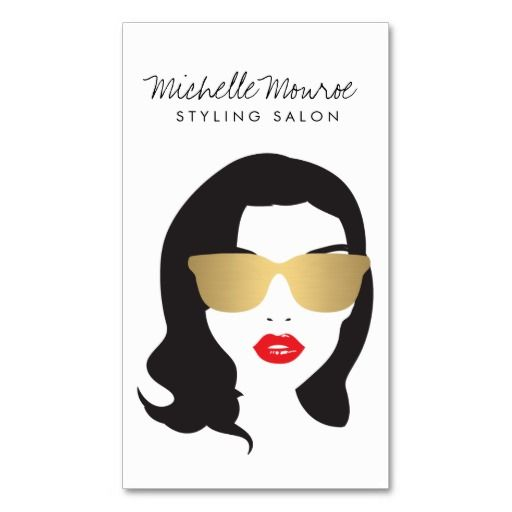 32 best hair stylist and salon business cards images on pinterest customizable girly gold sunglasses red lips business card template for hair stylists salons fashion reheart Image collections