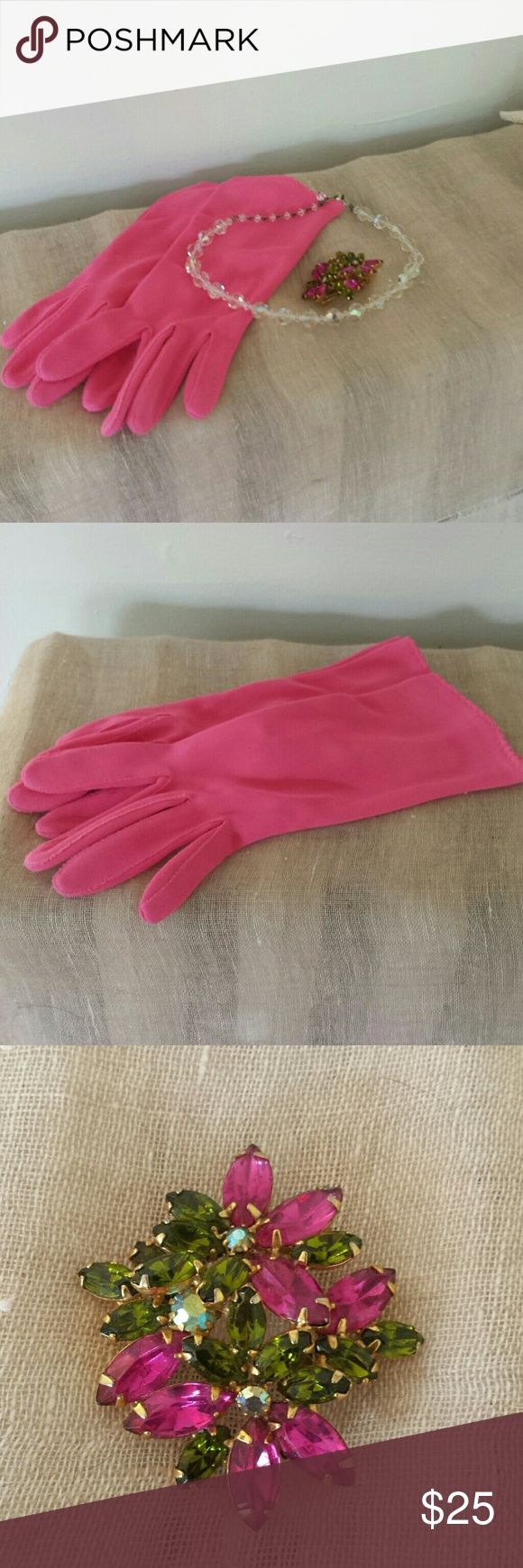 """Vintage pink gloves, jeweled pin, crystal choker Elsa Schiaparelli made shocking pink a style item, and these short gloves with scalloped hem will make their own statement.  Also included is a jeweled brooch in pink and green for a sweater, jacket, dress or hat accent.  Crystal beaded choker is 16"""" long with a hook clasp. Vintage Accessories"""