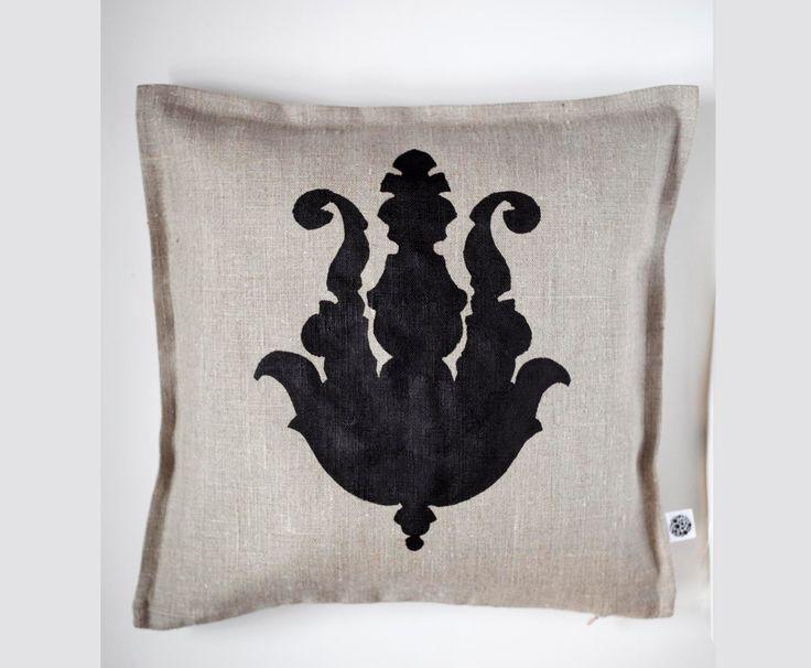 Black print on gray linen pillow cover hand painted - pillow cover hand painted print by pillowlink on Etsy