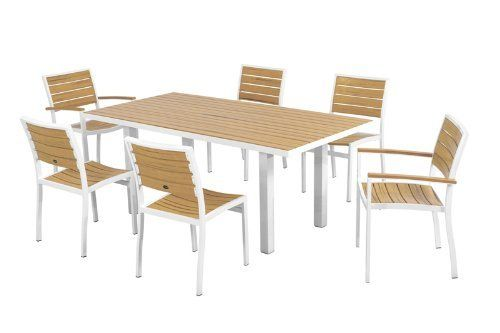 POLYWOOD® Euro 7-Piece Dining Set by POLYWOOD®. $2089.93. Eco-friendly production with over 90% recycled materials. Solid- heavy-duty construction withstands nature's elements. Made in the USA. Set includes four A100 Euro Dining Side Chairs- two A200 Euro Dining Arm Chairs- and one AT3672 Euro 36in x 72in Dining Table. Available in 7 aluminum frame and slat color combinations. Euro 7-Piece Dining Set in Gloss White Aluminum Frame / Plastique
