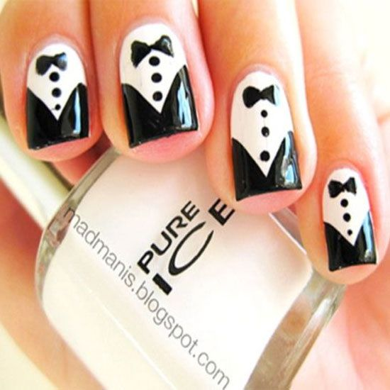20 Cool Tuxedo Nail Designs #nailart #naildesigns #nailartideas #nails