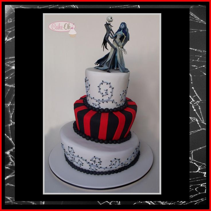 Corpse Bride red and black topsy turvy wedding cake.