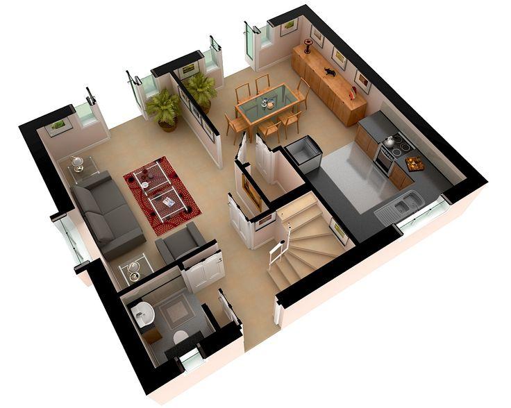 Moderne häuser grundriss 3d  169 besten 3d House Plan Bilder auf Pinterest | Grundrisse ...