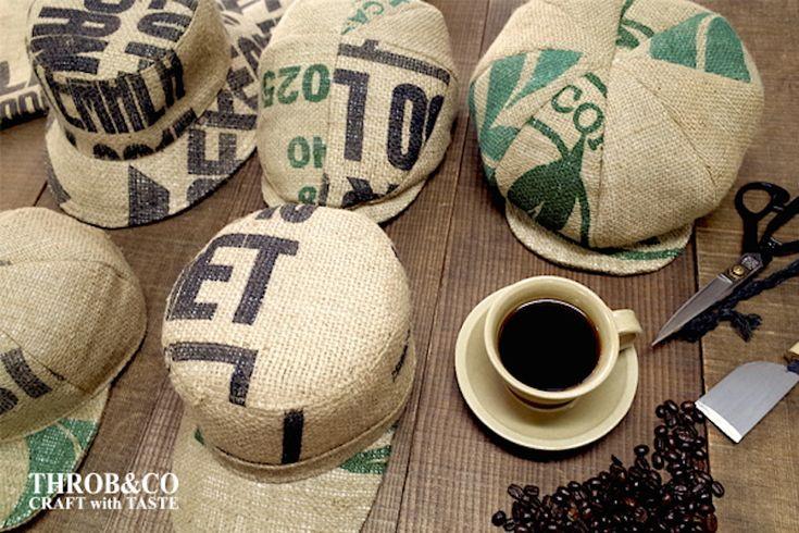 コーヒー豆のズタ袋を使った帽子で、コーヒー愛を身にまとう