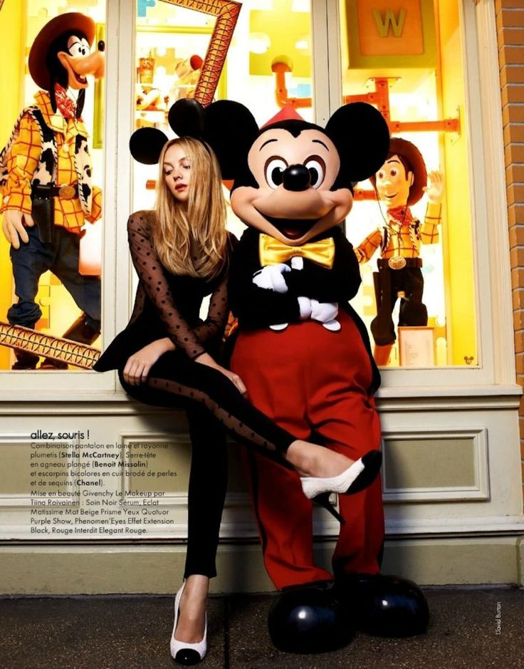 Elle France's Fashion Parade in Disneyland! (Editorial) - Heather Marks in Stella McCartney with Mickey