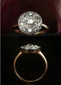 Erie Basin. 1900s Mine Cut Diamond Cluster Ring, Platinum, 14K Approx. 1.60ctw