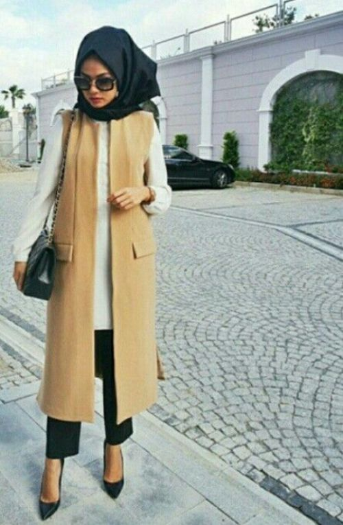 tan vest hijab outfit