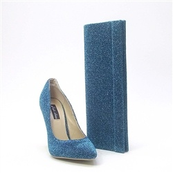Arwen Blue pointed glitter court shoe
