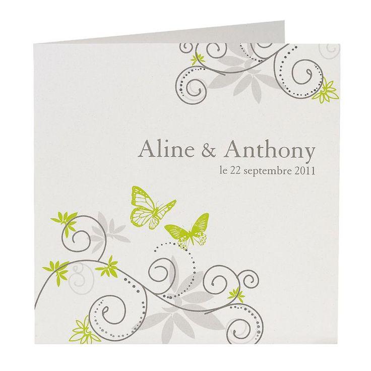 Einladungskarte mit Schmetterlingen weiß-grün quadratisch