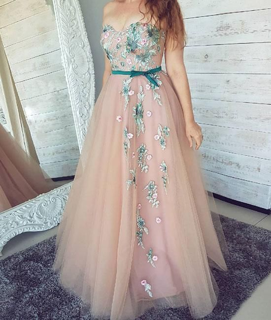 9deb638dad20 Pink sweetheart neck tulle lace applique long prom dress, pink evening dress