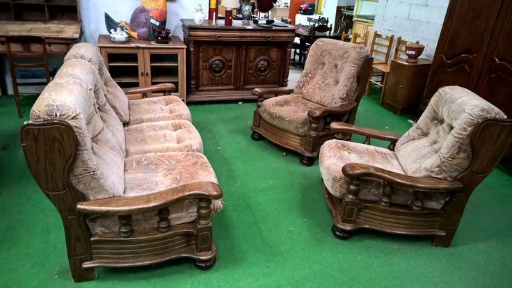 20303 1 canape 2 fauteuils rustique 180 occasion for Canape rustique