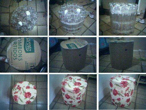 Ideas para hacer muebles y cosas utiles para la casa a partir de botellas de plastico PET, envases, llantas y palets.